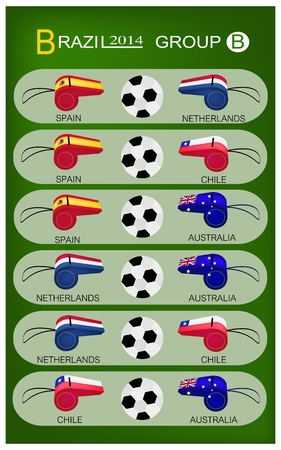 Brazil 2014 Group B, The Flags of 4 Nations of Football or Soccer Championship in Final Tournament at Brazil.  Illustration