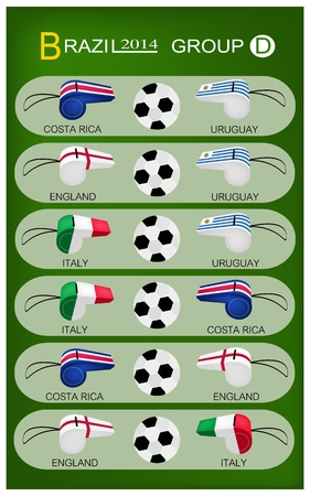 Brazil 2014 Group D, The Flags of 4 Nations of Football or Soccer Championship in Final Tournament at Brazil.  Vector