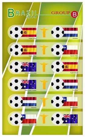 nações: Brasil 2014 Grupo B, Bandeiras de 4 Na Ilustração