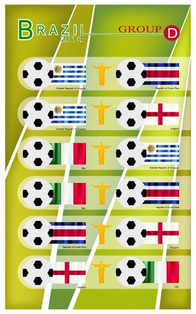 Brazil 2014 Group D, Flags of 4 Nations of Football or Soccer Championship in Final Tournament at Brazil.  Vector