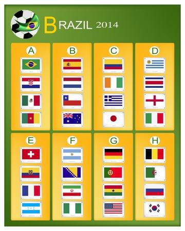 nações: Brasil 2014 Grupo, as bandeiras de 32 na Ilustração
