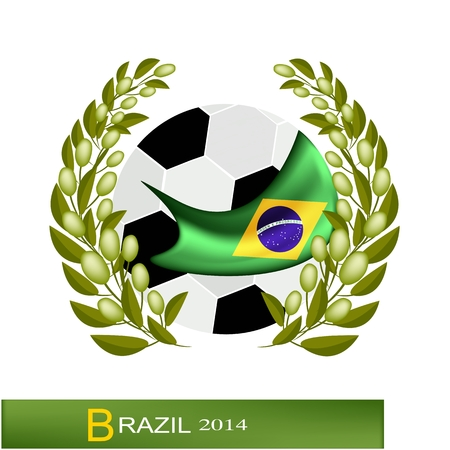 Brazil 2014, A Soccer Ball with Olive Laurel Wreath of Final Football Tournament at Brazil Championship.  Vector