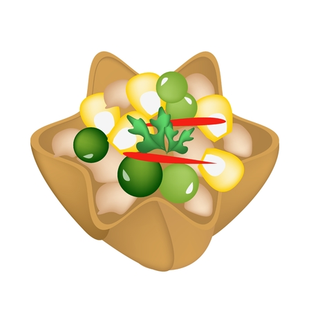 crispy: Thai Food, An Illustration of Kratong Thong or Minced Chicken and Sweet Corn in Crispy Golden Cup Made From Coconut Milk and Flour.  Illustration