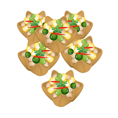 crispy: Thai Food, Group of Kratong Thong or Minced Chicken and Sweet Corn in Crispy Golden Cup Made From Coconut Milk and Flour.