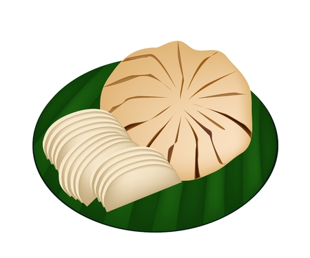 An Illustration of Sandoricum Koetjape, Santol or Krathon, Tropical Fruit in Southeast Asia Isolated on Banana Leaf.  Vector