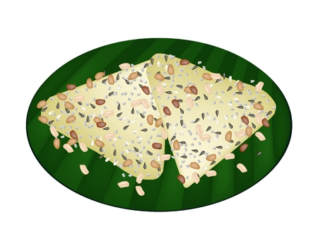 Thai Traditional Dessert, Two Thai Coconut Pancake Made From Coconut, Flour, Sesame Seeds and Sugar on Green Banana Leaf.  Vector