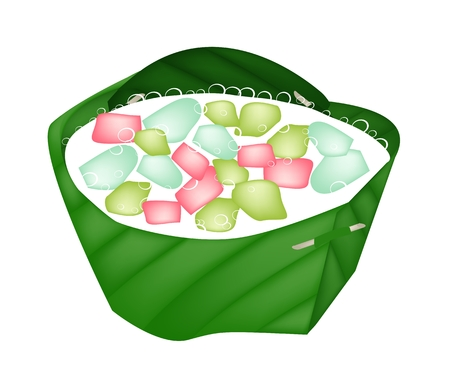 Thai Dessert, An Illustration of Stuffed Water Chestnut in Syrup and Coconut Milk Served with Crushed Ice in Counts Banana Leaf.  Vector