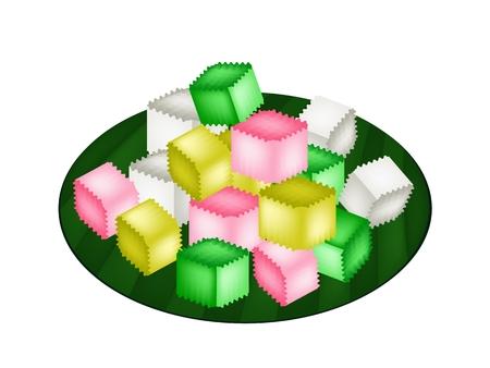 gelatina: Postre tailand�s, estilo tailand�s Colorido Homemade Crispy Jelly, crujientes por fuera y suaves por dentro en verde la hoja del pl�tano.