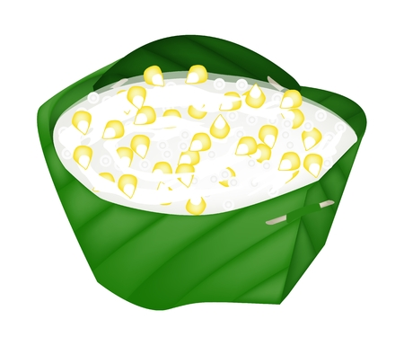 Thai Dessert, An Illustration of Sago, Sweet Corn and Coconut Meat in Syrup and Coconut Milk in Counts Banana Leaf.  Vector