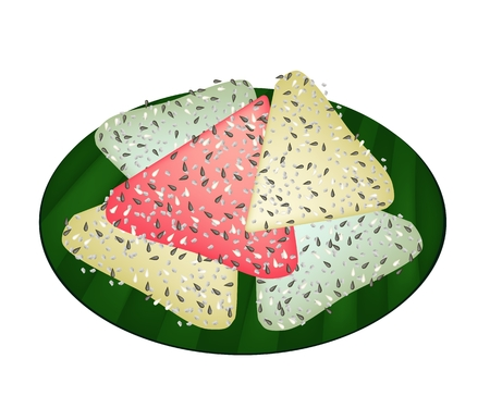 sesame seeds: Thai Traditional Dessert, A Stack of Thai Coconut Pancake Made From Coconut, Flour, Sesame Seeds and Sugar on Green Banana Leaf.  Stock Photo