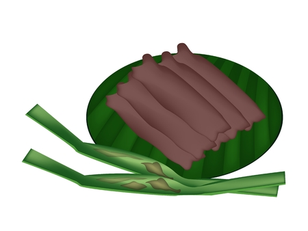 thai dessert: Thai Dessert, Freshly Homemade of Thai Sweetmeat Made From Taro, Coconut and Sugar Wrapped with Nipa Palm Leaves.  Illustration