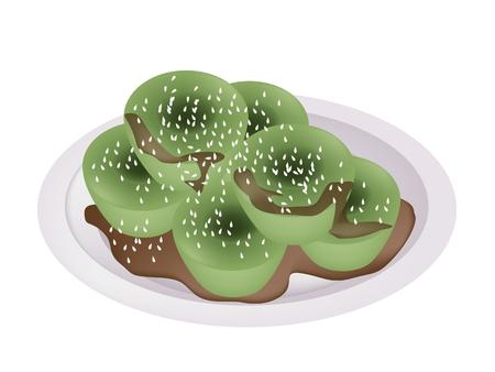 甘い食べ物: デザートや甘い食べ物、蒸しライス プディング米粉、タピオカ粉から作られたの緑の色茶色の砂糖シロップを添えてください。  イラスト・ベクター素材