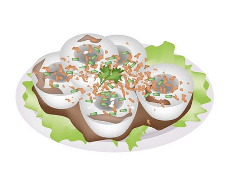Chinese Food, Illustration of Steamed Rice Pudding Made From Rice Flour and Tapioca Flour Served with Sour Sauce, Fried Garlic and Spring Onion.  Vector