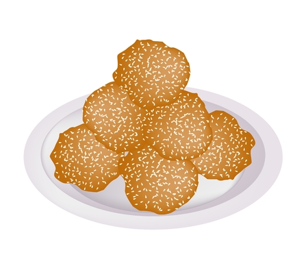 Food and Snack, Illustration of Cheese Balls, Dauphine Potato, Deep Fried Sweet Potato Balls or Croquettes Covered with Sesame on White Dish.