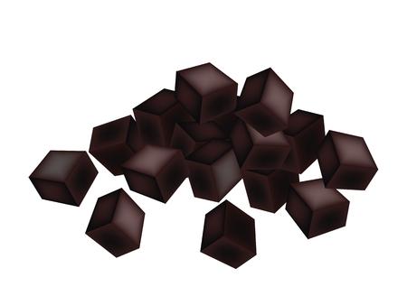 달콤한 음식과 디저트, 흰색 배경에 고립 된 잔디 젤리 또는 중국어 블랙 젤리의 그림. 일러스트