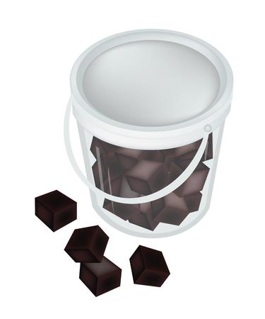 甘い食べ物: 甘い食品と、図の草ゼリーまたは A バケット孤立した白い背景の上で中国の黒ゼリーのデザート。  イラスト・ベクター素材