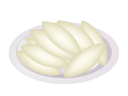shortbread: Thai Snack and Dessert, Homemade Shortbread Cookies Shaped As Oval or Leaf Isolated on A White Background.  Illustration