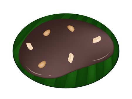 Thai Snack and Dessert, Illustration of Thai Caramel Made From Glutinous Flour, Sugar Palm, Coconut Milk and Glucose Syrup on Green Banana Leaf.  Illustration