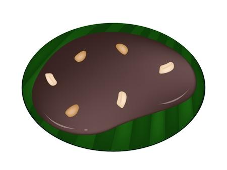 thai dessert: Thai Snack and Dessert, Illustration of Thai Caramel Made From Glutinous Flour, Sugar Palm, Coconut Milk and Glucose Syrup on Green Banana Leaf.  Illustration