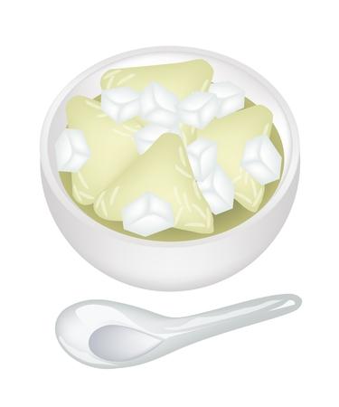 甘い食べ物: タイのデザートと甘い食べ物、シロップ、白い背景で隔離された白いボウルの氷ともち米から作られたピラミッド団子。