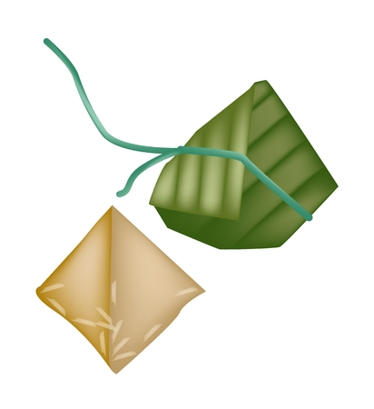 dim: An Illustration of Asian Chinese Rice Dumplings or Zongzi Wrapped with Bamboo Leaf for Pay Respect to God in Chinese New Year or Traditional Dragon Boat Festival.  Illustration