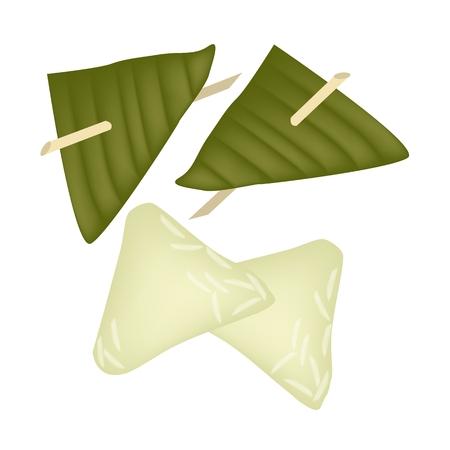 甘い食べ物: タイのデザートや甘い食べ物、粘着性の米小麦粉から作られたぬいぐるみ生地ピラミッド デザート、ヤシの砂糖は中国の新年に神に敬意を払うのバナナの葉で包まれました。