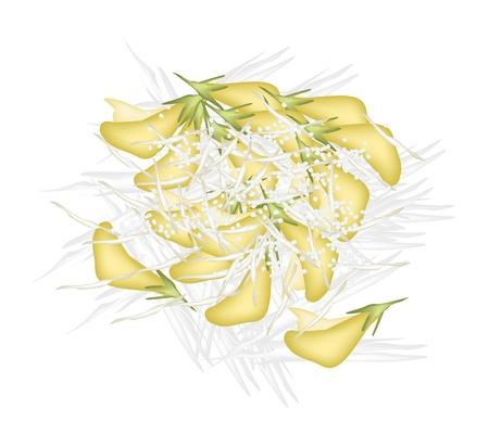 topping: Thai Dessert, Illustration Stack of Boiled Sesbania Javanica Dessert Topping With Shredded Coconut Isolated on White Background.