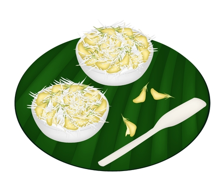 Thai Dessert, Boiled Sesbania Javanica Dessert Topping With Shredded Coconut on Green Banana Leaf.  photo