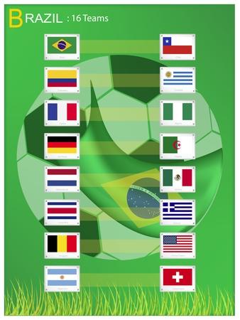 nações: As bandeiras dos 16 pa Ilustração