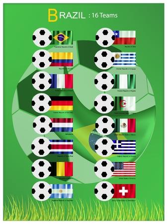nações: As bandeiras de 16 nações de futebol ou campeonato de futebol no torneio final no Brasil isolado no fundo branco. Ilustração