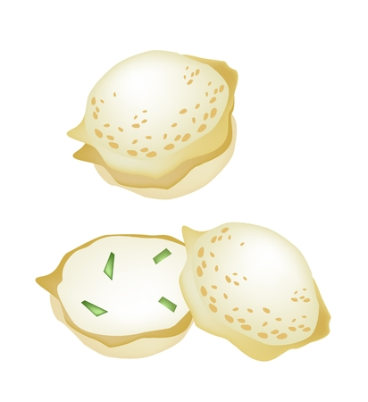 topping: Thai Traditional Dessert, Illustration of Kanom Krok or Coconut Rice Cake Made From Coconut, Tapioca Flour and Sugar Topping With Chopped Spring Onions.  Illustration