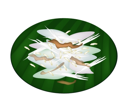 Thai Sticky Rice Cake Made From Rice Flour, Glutinous Flour Topping with Syrup, Grated Coconut and Popped Rice on Green Banana Leaf.  Vector