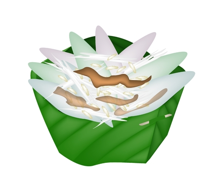 puffed: Thai Sticky Rice Cake Made From Rice Flour, Glutinous Flour Topping with Syrup, Grated Coconut and Popped Rice in Counts Banana Leaf.  Illustration
