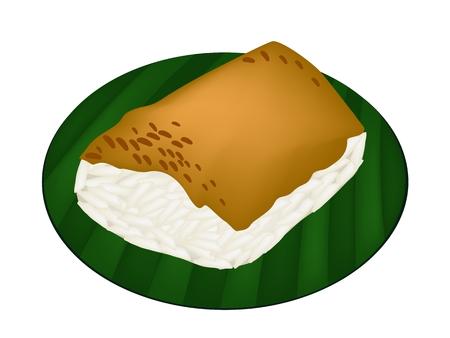 custard: Thai Dessert, An Illustration of Sweet Sticky Rice Topped with Steamed Egg Custard on Green Banana Leaf.