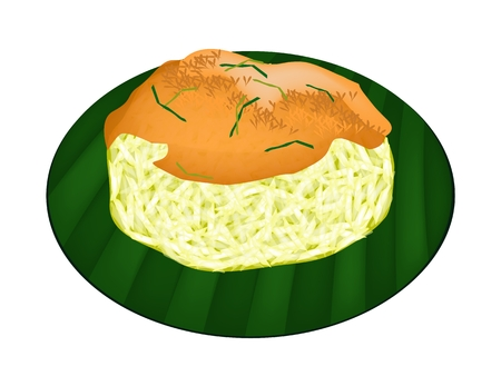 Thai Dessert, An Illustration of Sweet Sticky Rice Topped with Fried Shrimp and Shred Coconut on Green Banana Leaf.  Vector