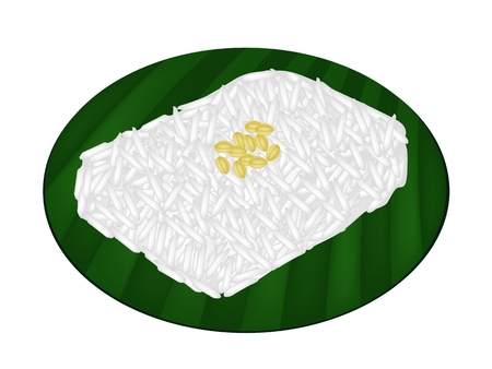 beans and rice: Thai Dessert, An Illustration of Sweet Sticky Rice with Coconut Cream and Split Mung Bean on Green Banana Leaf.  Illustration