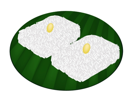 Thai Dessert, Illustration of Sweet Sticky Rice with Coconut Cream and Split Mung Bean on Green Banana Leaf.  Vector