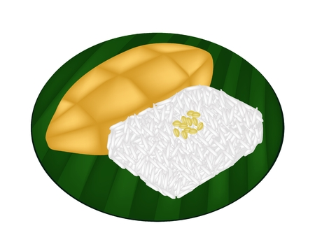 Thai Dessert, An Illustration of Sweet Sticky Rice in Coconut Cream with Ripe Mango on Green Banana Leaf.  Vector