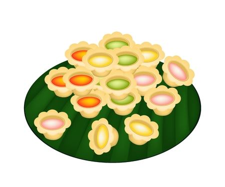 Thai Dessert, Thai Style Homemade of Colorful Palm Sugar in In The Pot Cake On Green Banana Leaf.  Vector