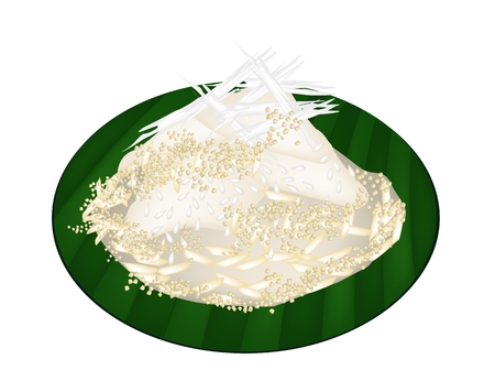 Thai Dessert, An Illustration of Sweet Sticky Rice Topped with Steamed Wild Yams and Shred Coconut on Green Banana Leaf.  illustration