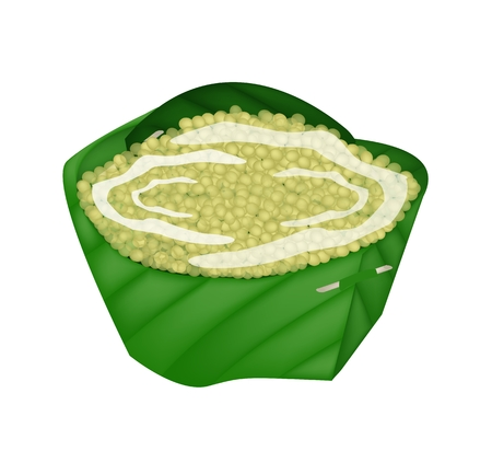 Thai Traditional Dessert, Illustration of Ripe Millet with Syrup and Coconut Milk in Counts Banana Leaf.  Vector