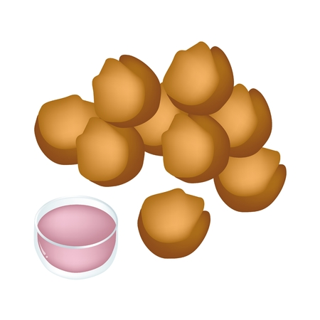deep fried: Thai Food and Snack, Illustration of Cheese Balls, Dauphine Potato, Deep Fried Sweet Potato Balls or Croquettes with Syrup.  Illustration