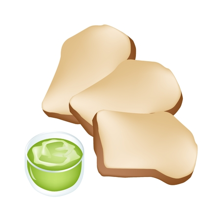 homemade bread: Snack and Dessert, Delicious Homemade Freshly Baked Bread With Pandanus Custard Cream Isolated on White Background.  Illustration