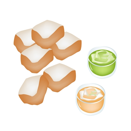 homemade bread: Snack and Dessert, Delicious Homemade Freshly Baked Bread With Cup of Pandanus Custard Cream Isolated on White Background.