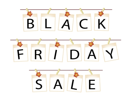 Black Friday Shopping Banner of Instant Photo Prints or Polaroid Frames Hanging on Maple Leaf Clothespins, Sign for Start Christmas Shopping Season.  Vector