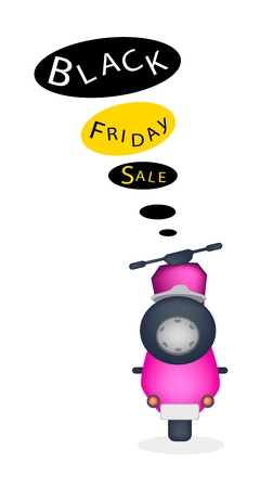 Black Friday, An Illustration of Motorcycle with Black Friday Flag for Start Christmas Shopping Season and Biggest Discount Promotion in A Year.  Vector