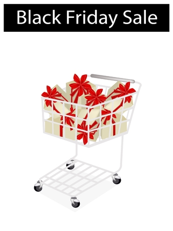 Shopping Cart with Black Friday Sale Banner, Sign for Start Christmas Shopping Season and Biggest Discount Promotion in A Year.  Vector