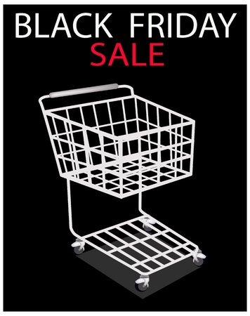 Shopping Cart on Black Friday Sale, Sign for Start Christmas Shopping Season and Biggest Discount Promotion in A Year.  Vector