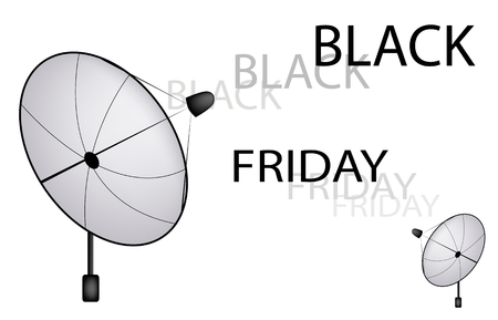 transmitting: Black Friday, Satellite Dish Transmitting Black Friday Sign for Start Christmas Shopping Season and Biggest Discount Promotion in A Year.  Illustration