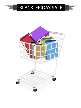 Black Friday Shopping Cart Full with File Folder or Office Foloder for Black Friday Shopping Season and Biggest Discount Promotion in A Year.  Vector